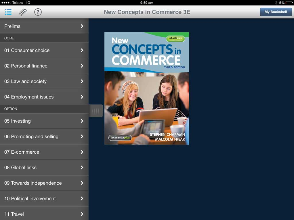 ebook main screen
