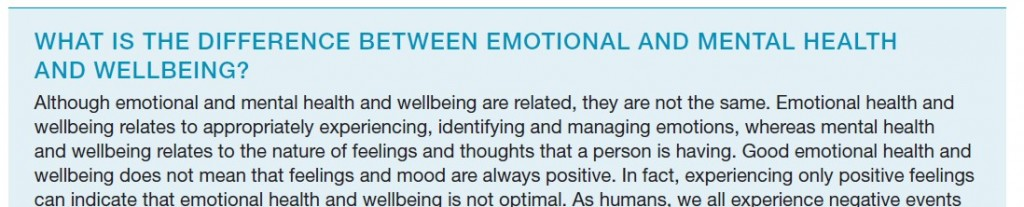 What is the difference between emotional and mental health and wellbeing?