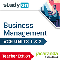 studyON Key Concepts in VCE Business Management Units 1&2 5e Teacher Edition