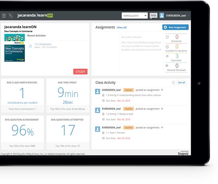 Jacaranda New Concepts in Commerce ipad