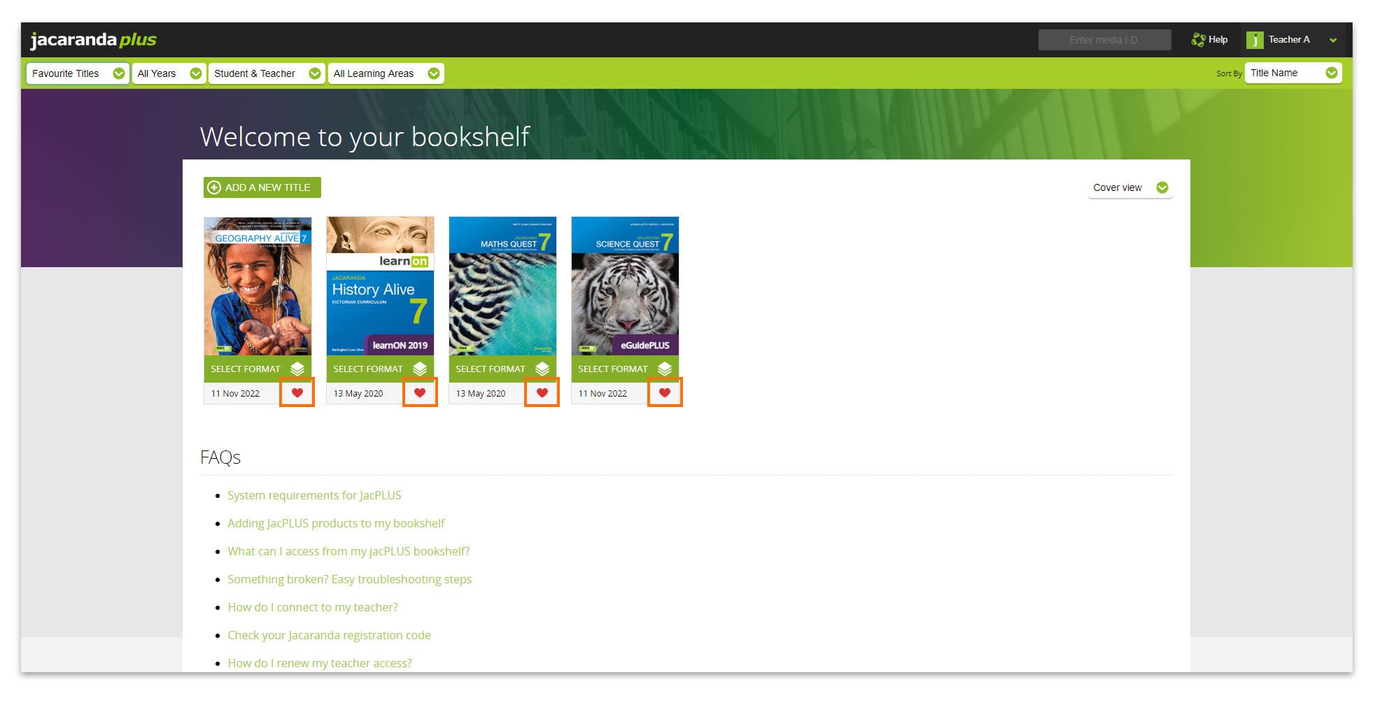 Jacaranda Bookshelf favourites