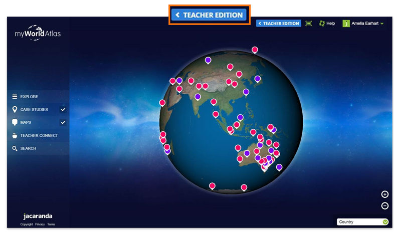 Jacaranda myWorld Atlas 2019 teacher button